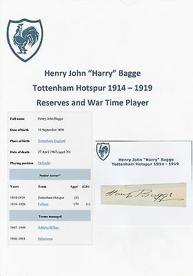 Harry Bagge Tottenham Hotspur 1914-1919 Extremely Rare Original Signed Cutting