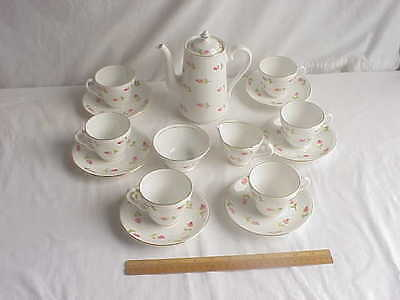 Stanley Fine Bone China Tea or Coffee Set for 6 Cup Saucers Cream Sugar & Pot