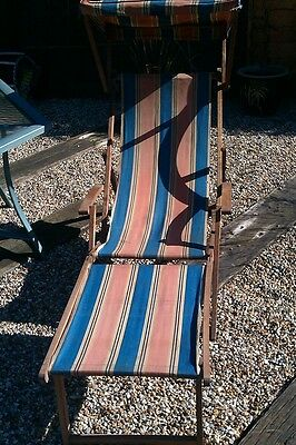VINTAGE STRIPEY DECK CHAIR WITH CANOPY AND FOOTSTALL