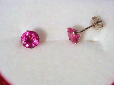 ROUND CUT HOT PINK SAPPHIRE 14KT. SOLID WHITE OR YELLOW GOLD STUD EARRINGS