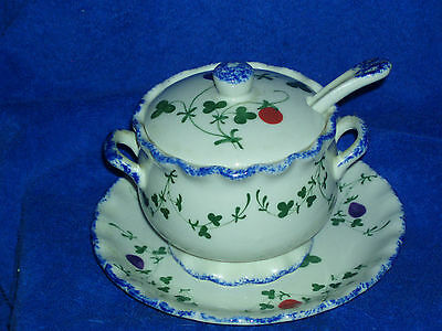 Vintage Hand Painted Cote Basque Sugar Bowl w/spoon & Matching Plate dated 1982
