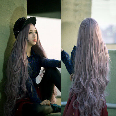 100cm Long Lady's Curly Wavy Hair Full Wig For Cosplay Party Lolita Anime Wig