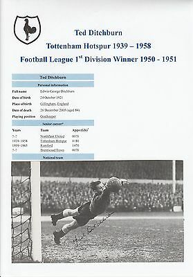 Ted Ditchburn Tottenham Hotspur 1939-1958 Rare Original Signed Picture Cutting