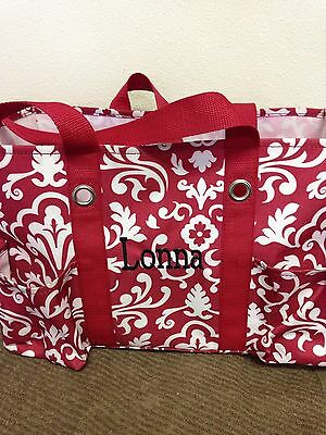 Thirty Ine Gifts Utility Tote Red Damask Retired and Embroidered