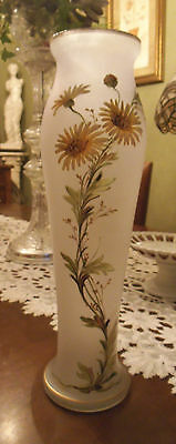 Antique Handblown Frosted Glass Vase Hand Painted with Gold Leaf of Daisies