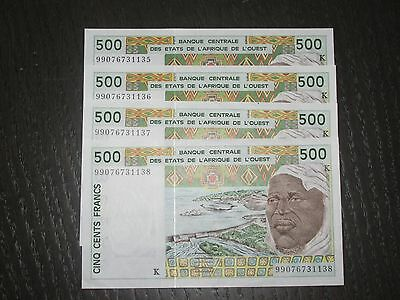 West African States 4 X 500 Francs (ND) P-710k  Consecutive  !!!