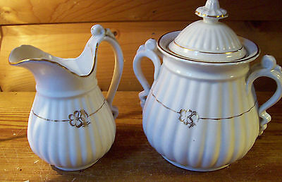 "Vtg.White SB & SONS  7 1/2"" TALL LIDDED SUGAR/ CREAMER 8 Cup 64Oz.Tea Pot  SET"