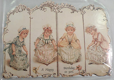 Victorian Turn Of The Century Happy Birthday Girl Curtsy Greeting Card #Grc057
