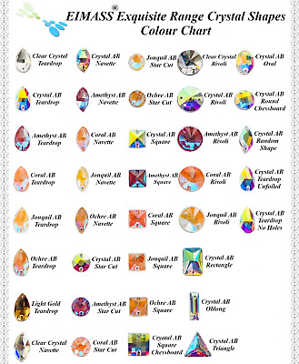 Sew on Crystals, EIMASS® 8868 Exquisite Range for Costume Embellishment, Gems