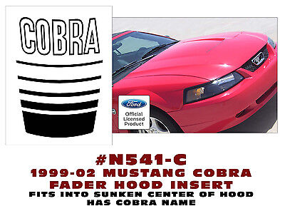 """Cobra Hood Decal Ford Mustang 24/""""x18/"""" large Auto vinyl graphic car body Blk Wht"""