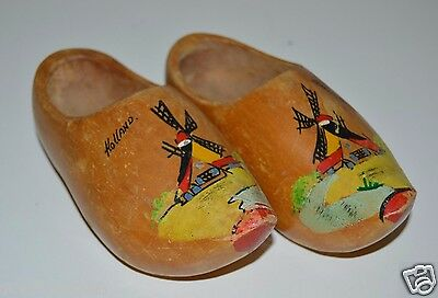 """Old Vintage Original Dutch Small 6"""" Clogs HOLLAND Hand Painted Wooden Shoes Rare"""