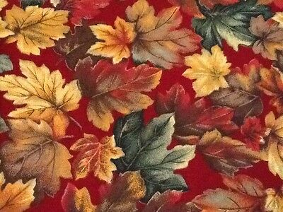 VIP Cranston 100% Cotton Fabric Autumn Leaves USA 1 1/3 Yards Quilting Red Gold