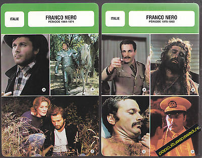 FRANCO NERO Movie Star FRENCH BIOGRAPHY PHOTO 2 CARDS