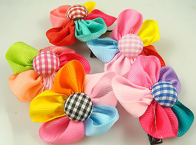 """Wholesale 5p girl baby toddler 5"""" boutique Hair Bow mixed ribbon with clips M4e"""