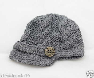 Handmade Knitting crochet Beanie Hat Newsboy Toddler boy baby 3-6 months gray