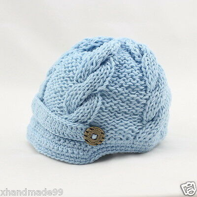 Handmade Knitting crochet  Beanie Hat cap Newsboy Toddler  baby 0-3 month blue