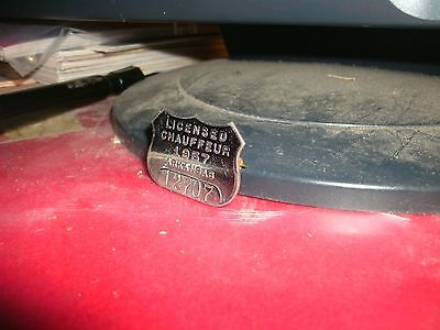 Vintage 1957 Arkansas Liscened Chauffeurs drivers license pin