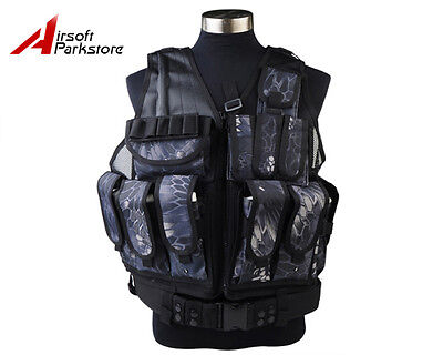 Tactical Military SWAT Police Airsoft Molle Combat Vest w/ Pistol Holster Typhon