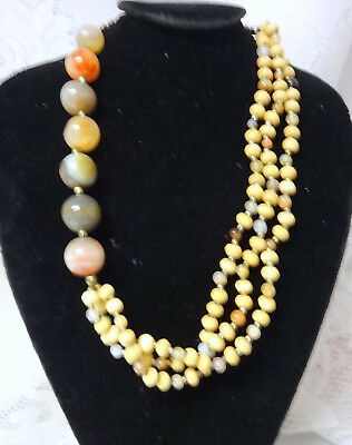 Antique African ROUND BIG Agate Beads Runway Necklace