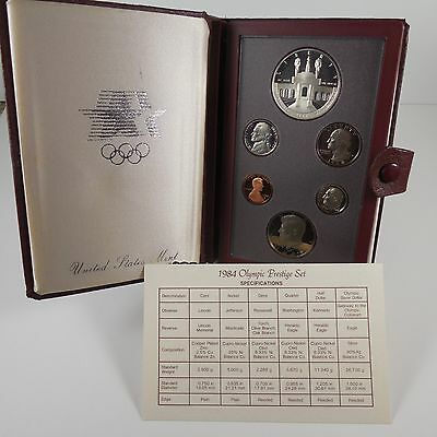 1984 S Prestige Proof Set Olympics 90% Silver Dollar Proof Set 6 US Coins