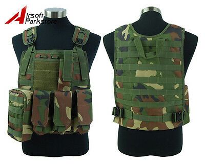 Tactical Military SWAT Police Airsoft Hunting Molle Plate Carrier Vest Woodland