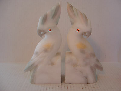 VINTAGE HEAVY CARVED MARBLE COCKATOO BOOK ENDS WITH GLASS EYES