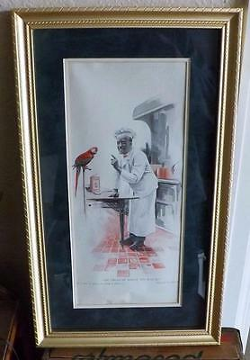 Framed & Matted Vintage Magazine Ad for Cream of Wheat Chef and Parrot July 1921