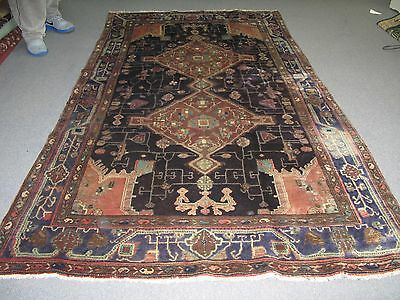 Vintage Persian Hand Knotted Wool Kurdish Malayer Oriental Area Rug 4'-9 x 8'-4