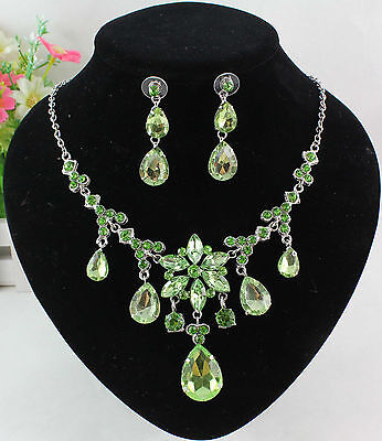 Silver Plated Austrian Green Rhinestone Crystal Necklace Earrings Set