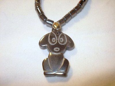 "16"" Hematite Drum Beads & Puppy Dog Crystal Healing Gemstone Pendant Necklace"