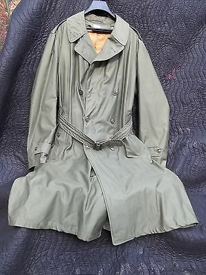 Vintage U.S. Military OVERCOAT Trench Coat Olive Green 107 8405-261-6497 W Liner