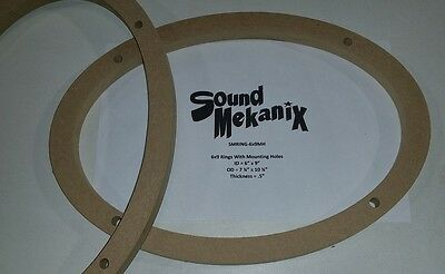 """MDF Speaker / Spacer Rings, 6x9"""" 1/2"""" Thick With Mounting Holes One Pair"""