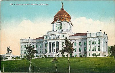 "Helena MT~State Capitol~Neoclassical Style~Atop Dome ""Goddess of Liberty""~1910"