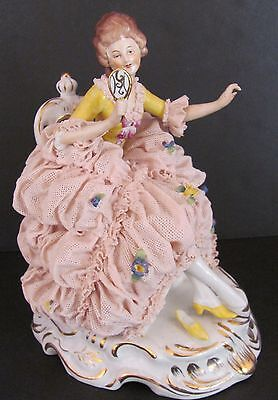 Vintage Dresden Porcelain Lace Figurine Lady with Mirror