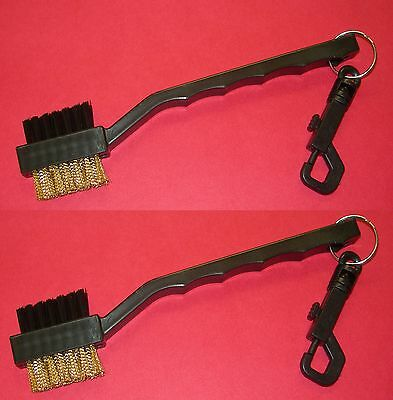 Lot of 2 - 2 SIDED Brass Nylon GOLF BRUSH CLUB Shoe CLEANER SCRUBBER CLIP