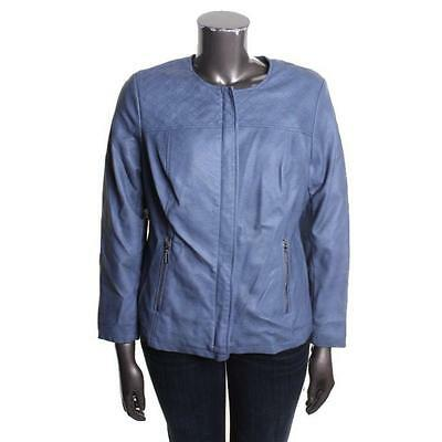 ALFANI NEW Blue Faux Leather Quilted Outerwear Jacket Coat Plus 1X BHFO