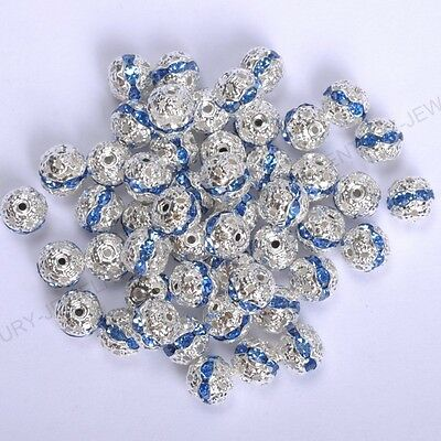 10pcs light Sapphire Quality Czech Crystal SILVER PLATED Charms Spacer BEADS 8MM
