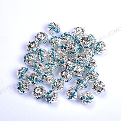 10pcs Blue Zircon Quality Czech Crystal SILVER PLATED Charms Spacer BEADS 8MM
