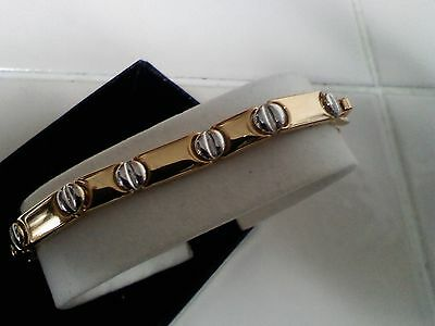 "Joan Rivers 7"" Two Tone Bar Link Nail Head Bracelet  NEW With Box."