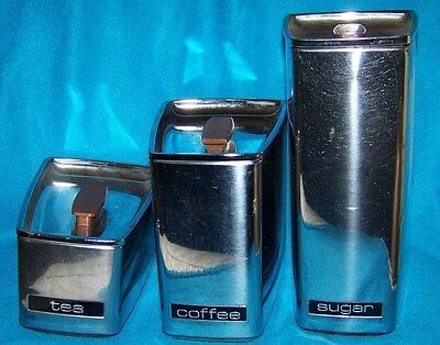 Vintage Lincoln Beautyware Chrome Canisters Set of 3 w/Lids