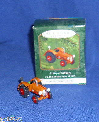 Hallmark Miniature Ornament Antique Tractors #4 2000 Die Cast Orange Bad Box