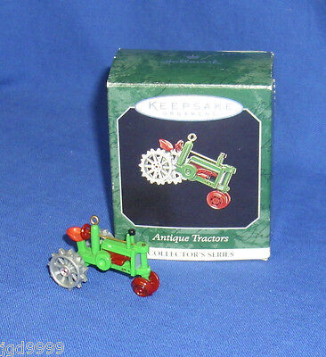Hallmark Miniature Ornament Antique Tractors #2 1998 Die Cast Metal Green Used