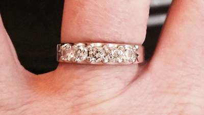 1CT Clear, I Diamond band, Women's, GIA,  in 14k white gold size 10 Shane Co.