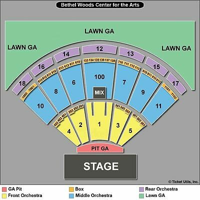 2 TIX Zac Brown Band 8/23 Bethel Woods Center For The Arts - LAWN 7 GA 3