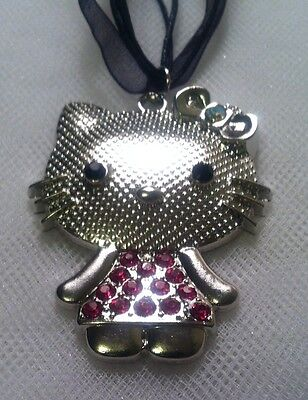 Girls Beautiful Silver Crystal Hello Kitty Necklace 2x11/2