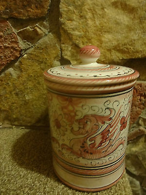 """Italy Deruta Raffaellesco Pottery Canister Hand Painted """"Signed"""""""