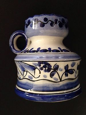 Hand Painted Portuguese Blue & White Ceramic Candle Holder with Handle - Signed