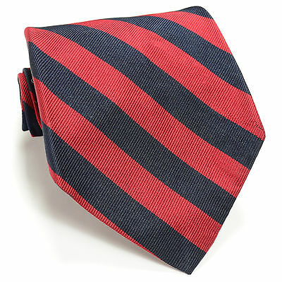 JOS A BANK 56L Vintage Burgundy Navy Blue Repp Striped Woven Silk Mens Neck Tie