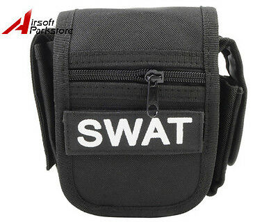 Tactical Military Swat Police Hunting Waist Pack Bag w/ Flashlight Holster Black