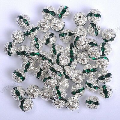 10pcs Emerald Quality Czech Crystal SILVER PLATED Charms Spacer BEADS 8MM
